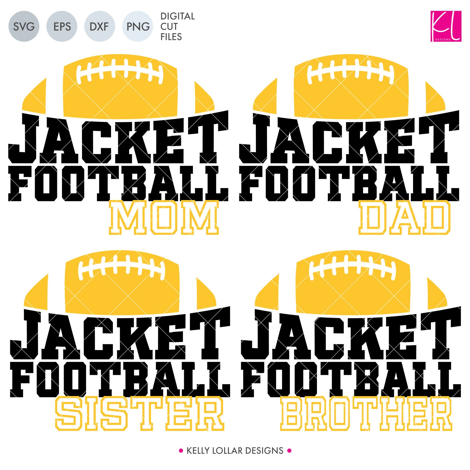 Jackets Football Bundle | SVG DXF EPS PNG Cut Files This fifteen piece Jacket Football Bundle was created with school crafters in mind. Create an assortment of spirit shirts with choices ranging from family designs to monograms to classic. 15