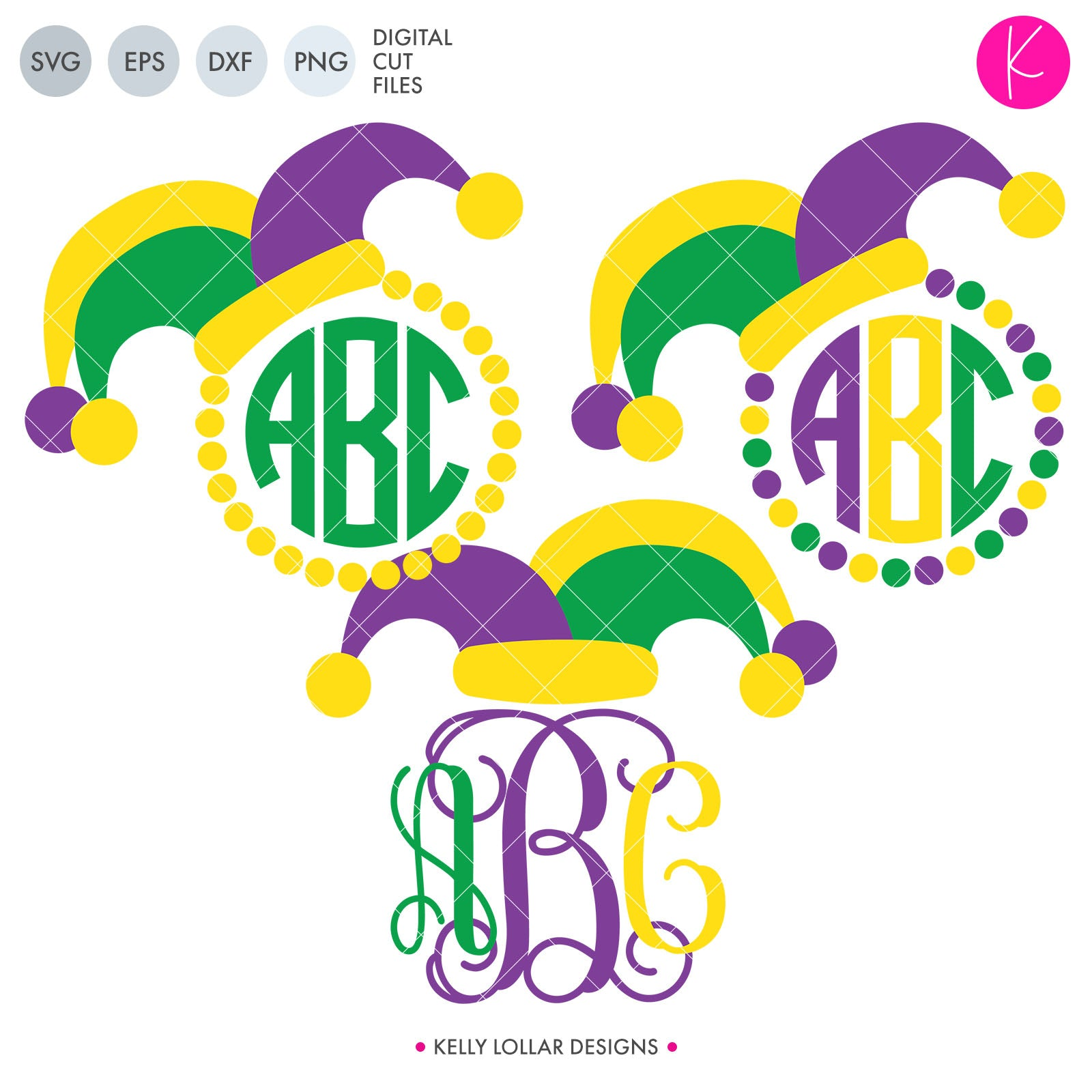 Jester Hat Monogram Pack | SVG DXF EPS PNG Cut Files