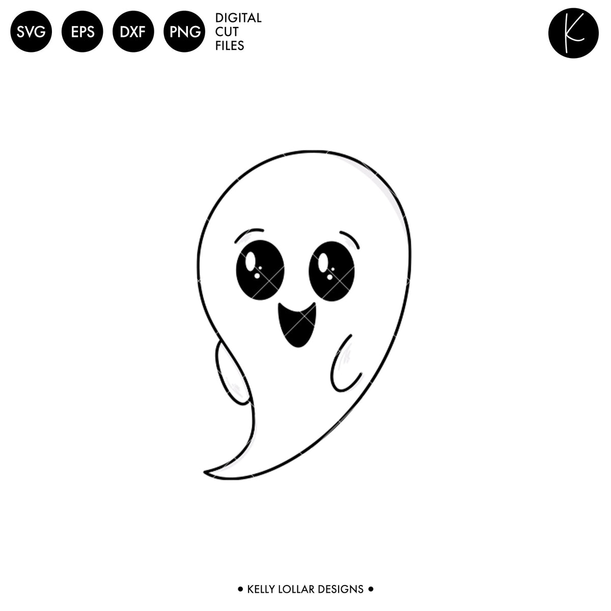 Kawaii Ghost | SVG DXF EPS PNG Cut Files