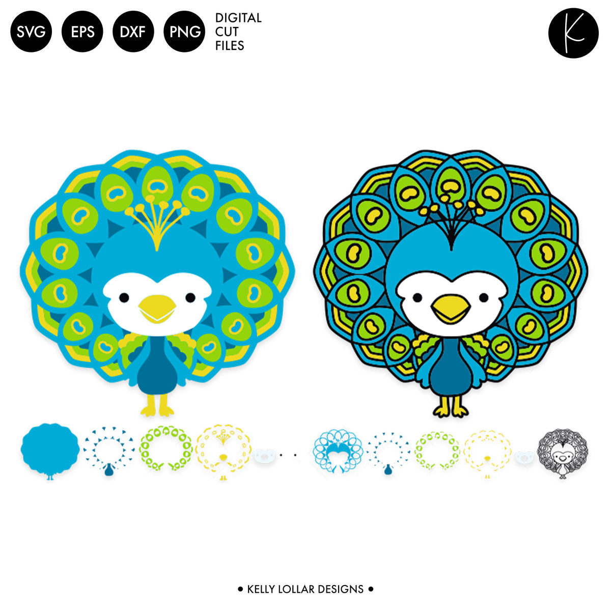 Kawaii Peacock | SVG DXF EPS PNG Cut Files