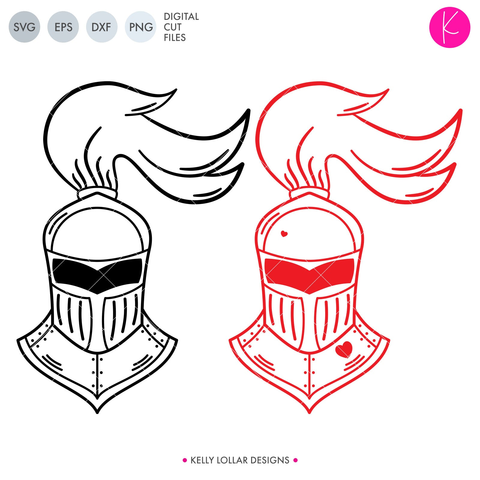 Knight Helmet | SVG DXF EPS PNG Cut Files KNIGHT HELM | SVG DXF EPS PNG Cut Files | Knight's Helmet with Plain and Heart Adorned VariationsHuzzah! Celebrate Valentine's with your little knight in shining armor with this cute