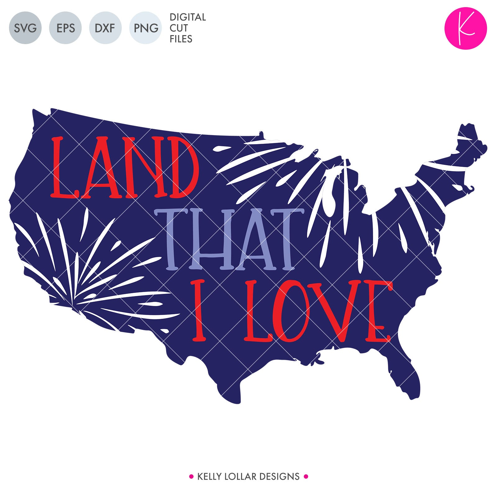 Land That I Love svg - United States Silhouette with Fireworks and Quote for 4th of July Shirts and Decor | SVG DXF PNG Cut Files