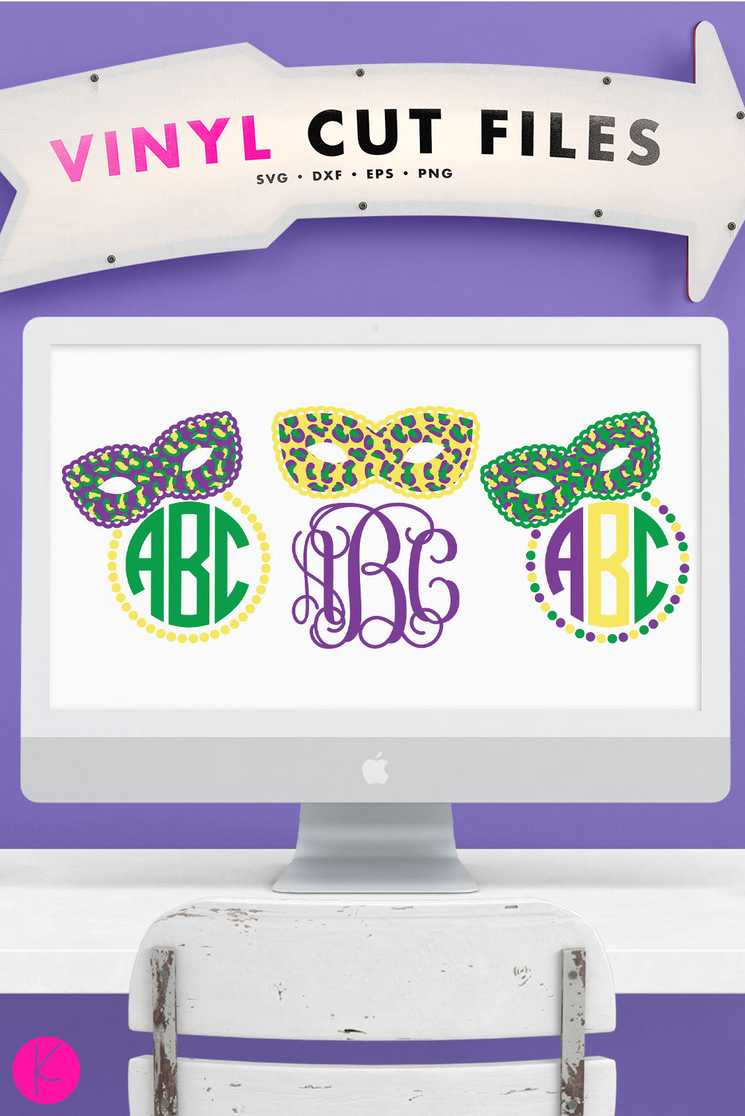 Mardi Gras Mask Monogram Pack | SVG DXF EPS PNG Cut Files