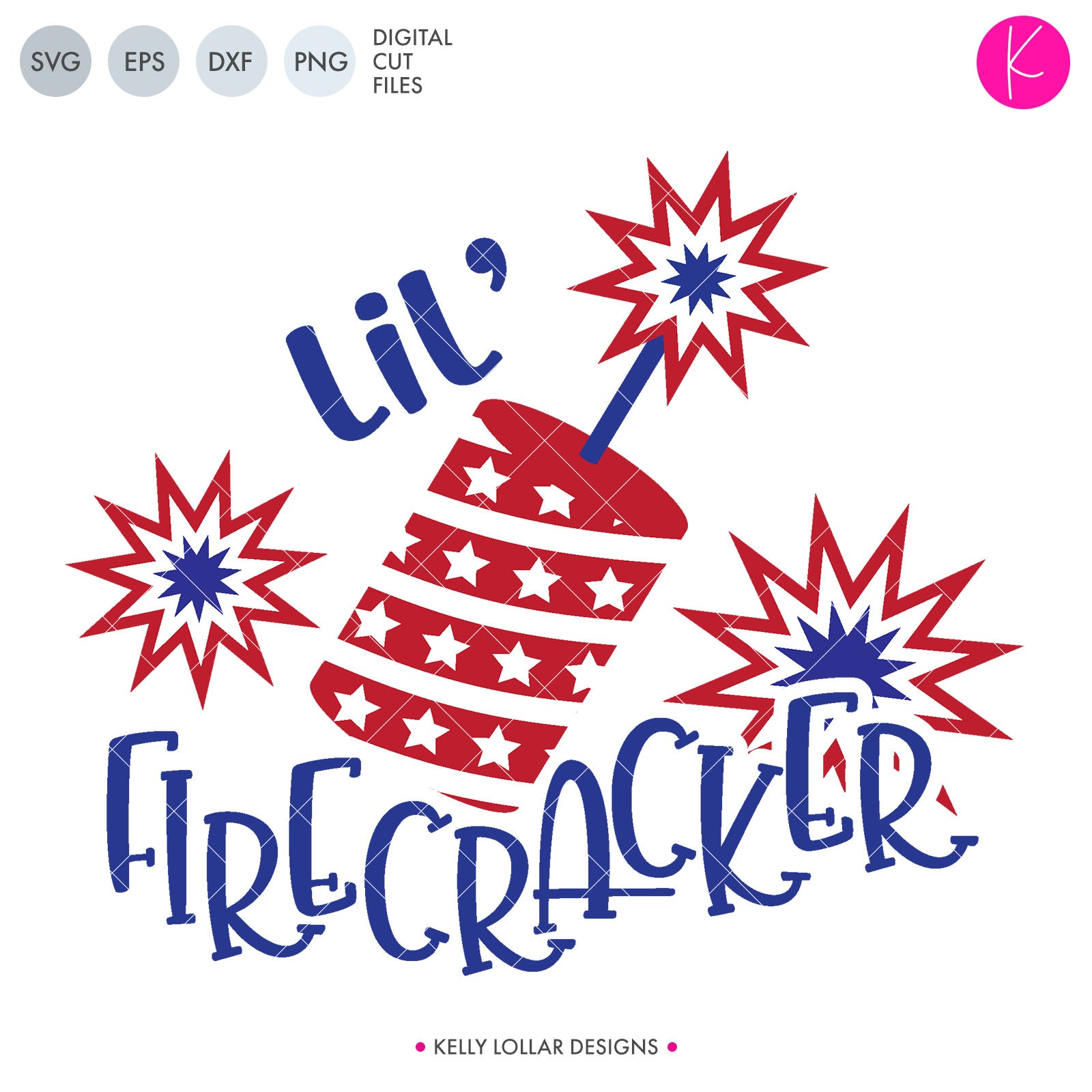 Lil & Big Firecracker SVG Cut File Lil' & Big Firecracker Sibling 4th of July Quote with Firecracker and Flashes | SVG DXF PNG Cut Files INDIVIDUAL 2 files for each format 3-color version for use on color