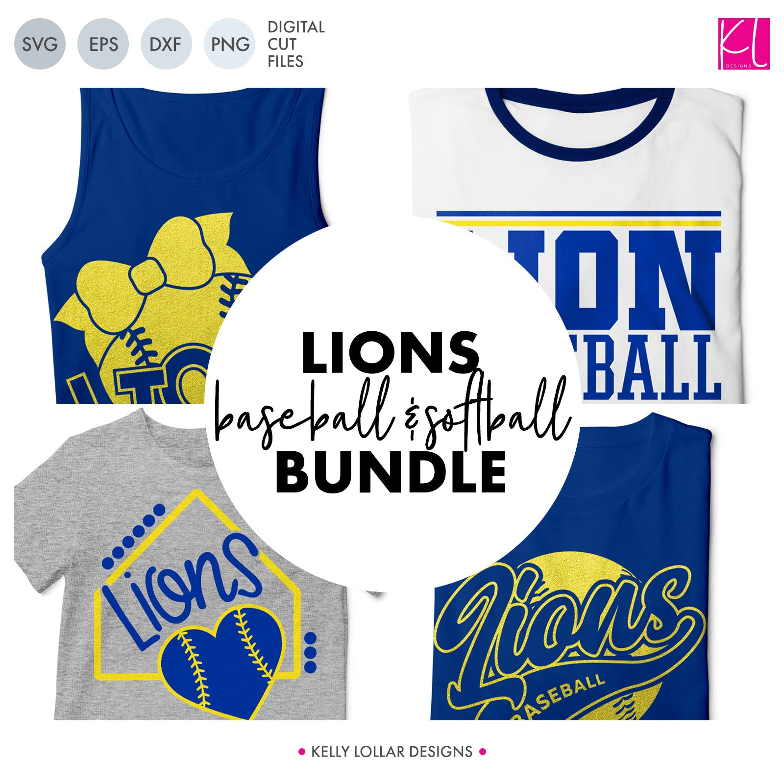 Lions Baseball & Softball Bundle | SVG DXF EPS PNG Cut Files It's baseball and softball season, so Lion crafter know what that means ... new spirit shirts! This fifteen-piece bundle includes a little something for everyone - from girly and cute