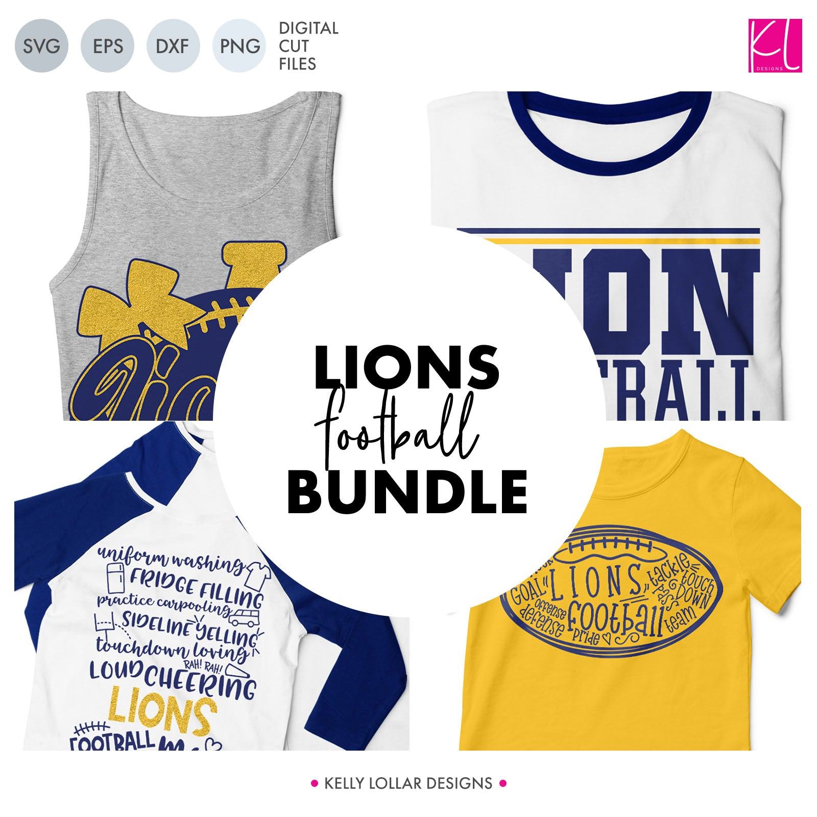 Lions Football Bundle | SVG DXF EPS PNG Cut Files