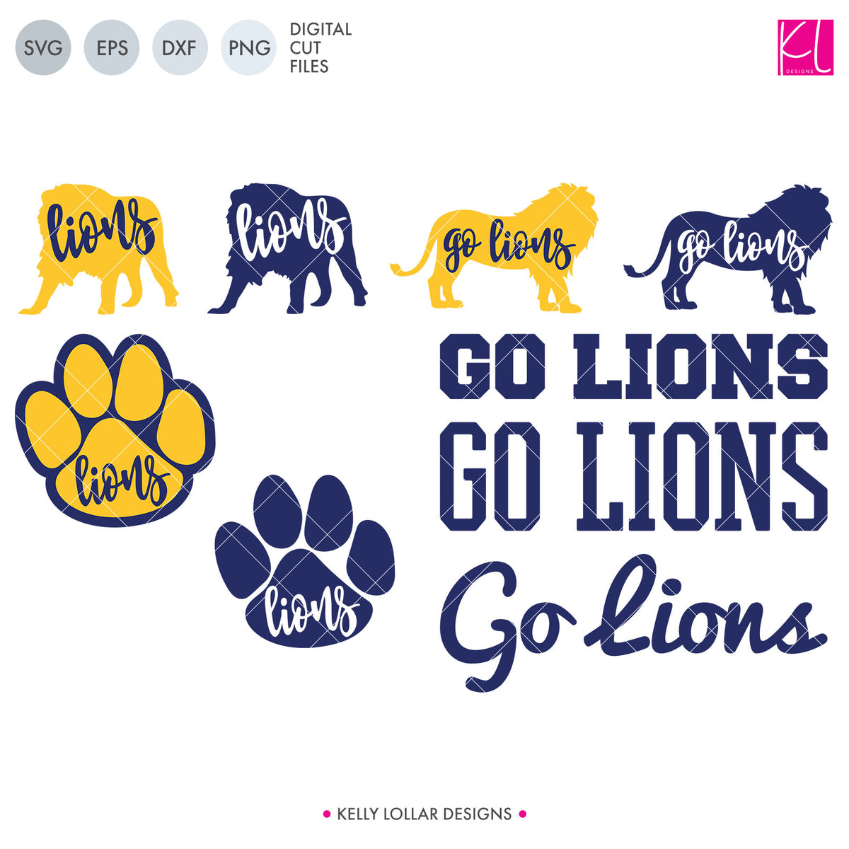 Lions Mascot Bundle | SVG DXF EPS PNG Cut Files