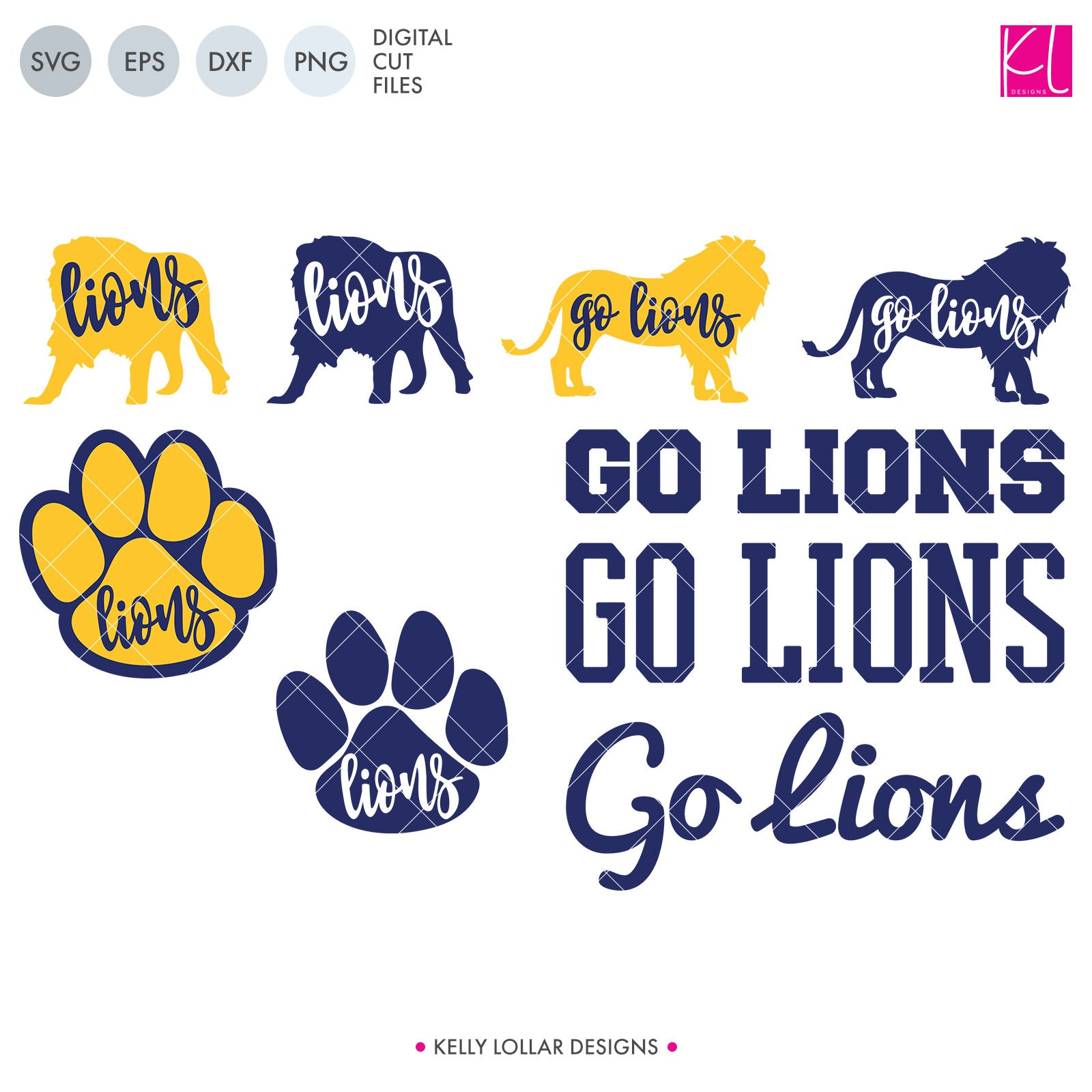 Lions Mascot Bundle | SVG DXF EPS PNG Cut Files A perfect bundle for Lions school spirit crafters! This set of 28 designs includes everything from cute and girly to unisex so you'll have a little something for everyone. Includes