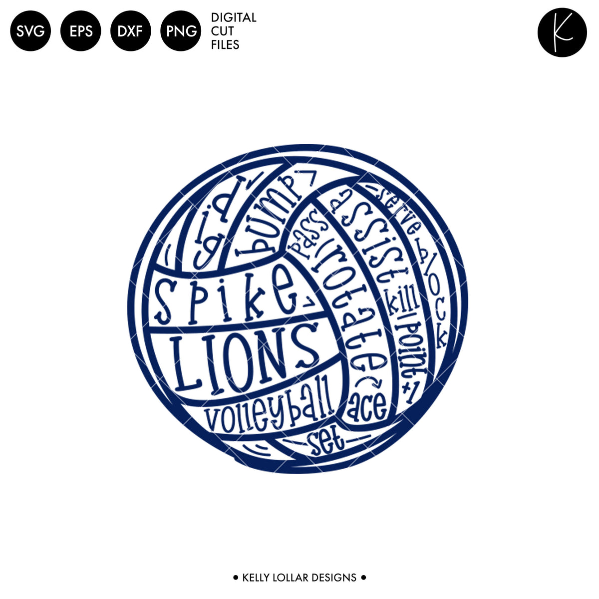 Lions Volleyball Bundle | SVG DXF EPS PNG Cut Files