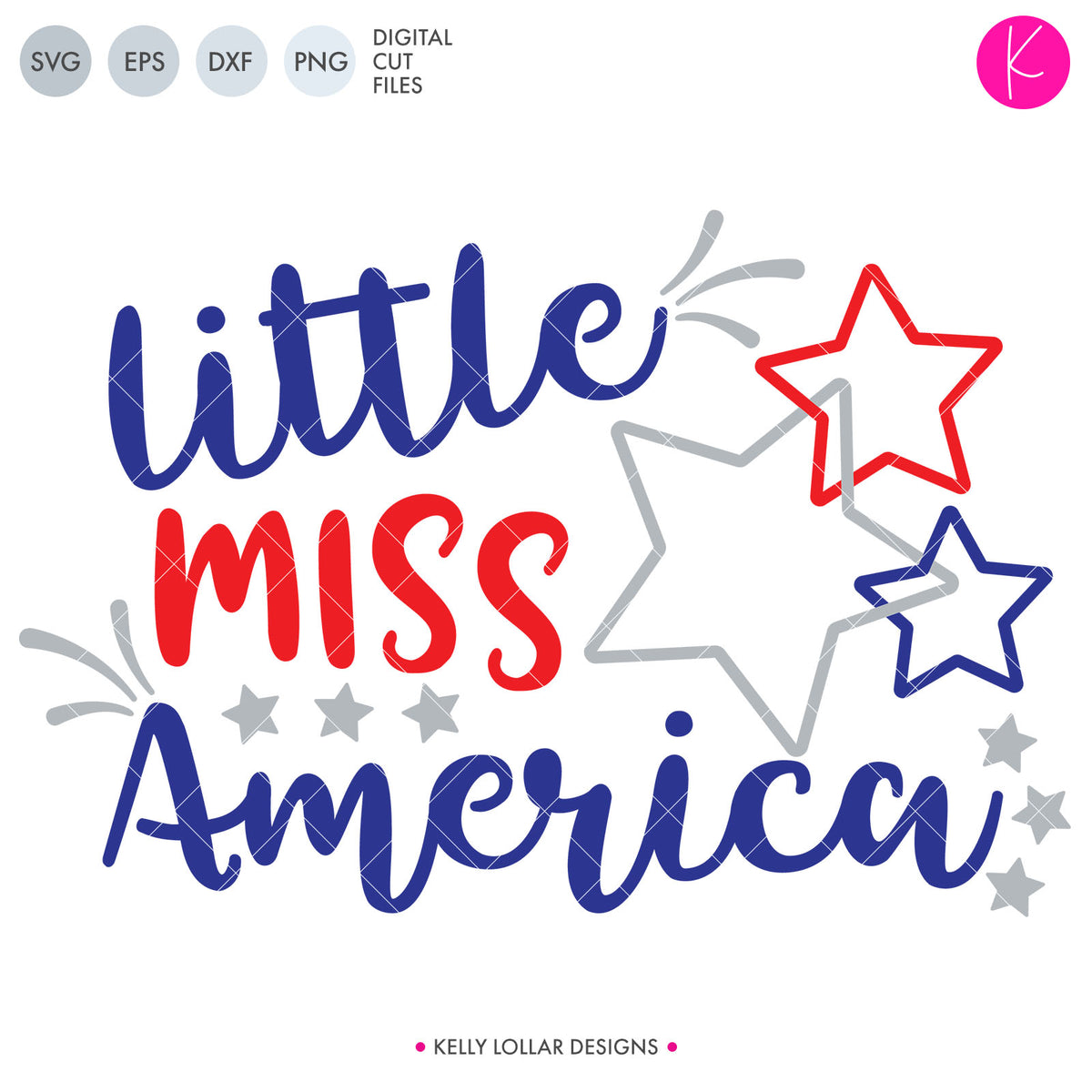 Little Miss and Mr. America | SVG DXF EPS PNG Cut Files
