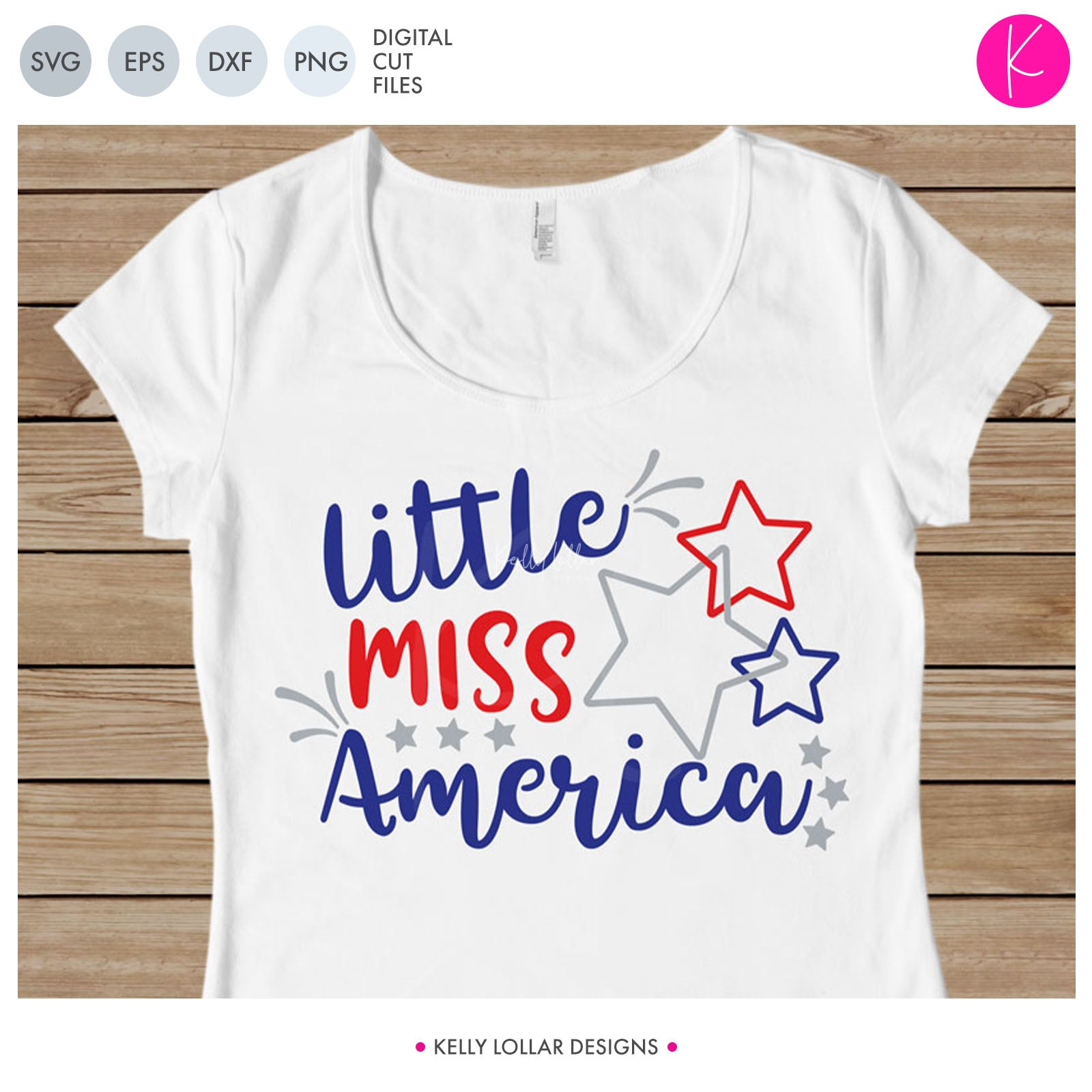 Little Miss and Mr. America | SVG DXF EPS PNG Cut Files Cute Patriotic Quote with Interlocking Stars for Boy and Girl 4th of July Shirts | SVG DXF PNG Cut Files Choose from Individual Versions or the Pack INDIVIDUAL 2 files for each format