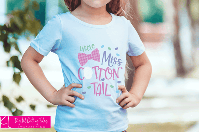 Girl's Easter shirt with the Little Miss Cottontail svg file used without the the check on the bow