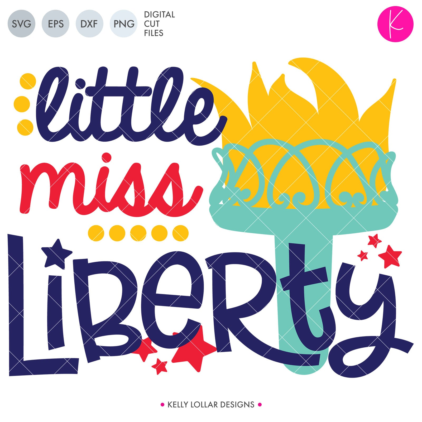 Little Miss Liberty svg - Girl's 4th of July Quote with Polka Dots, Stars and the Statue of Liberty's Torch for Shirts | SVG DXF PNG Cut Files