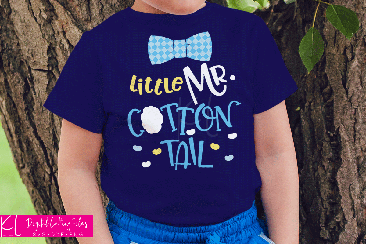 Boy's Easter shirt with the Little Mr. Cottontail svg file used without the the check on the bow tie