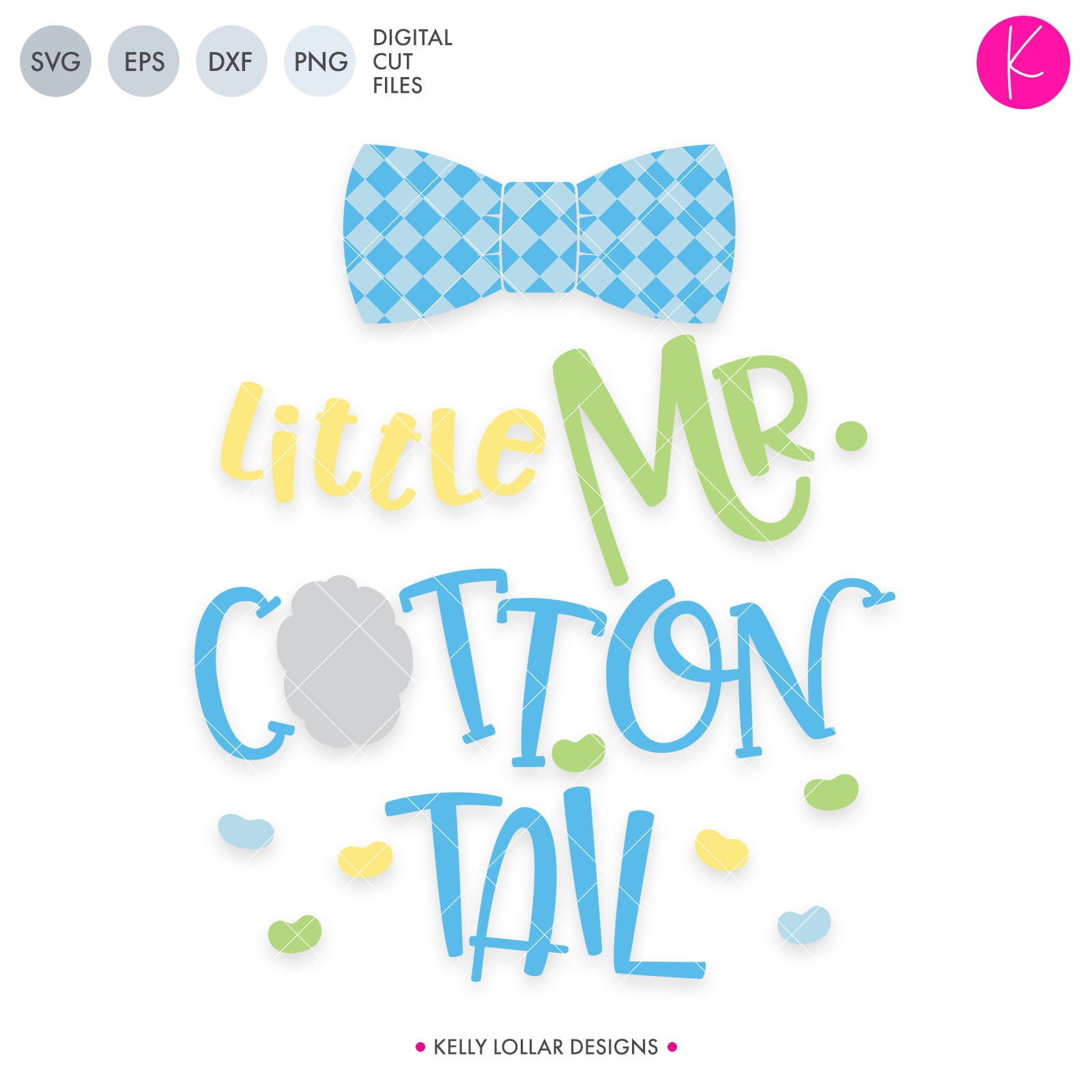 Little Mr. Cottontail | SVG DXF EPS PNG Cut Files Little Mr. Cottontail with Gingham Bow Tie and Jelly Beans for Boy Easter Shirts | SVG DXF PNG Cut Files Get your sweetie pie ready for Easter with this adorable
