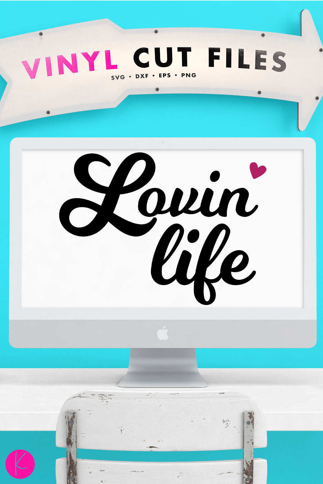 Lovin' Life | SVG DXF EPS PNG Cut Files Retro Style Lovin' Life Quote with Heart | SVG DXF EPS PNG Cut Files  1 file for each format lettering and heart welded separately