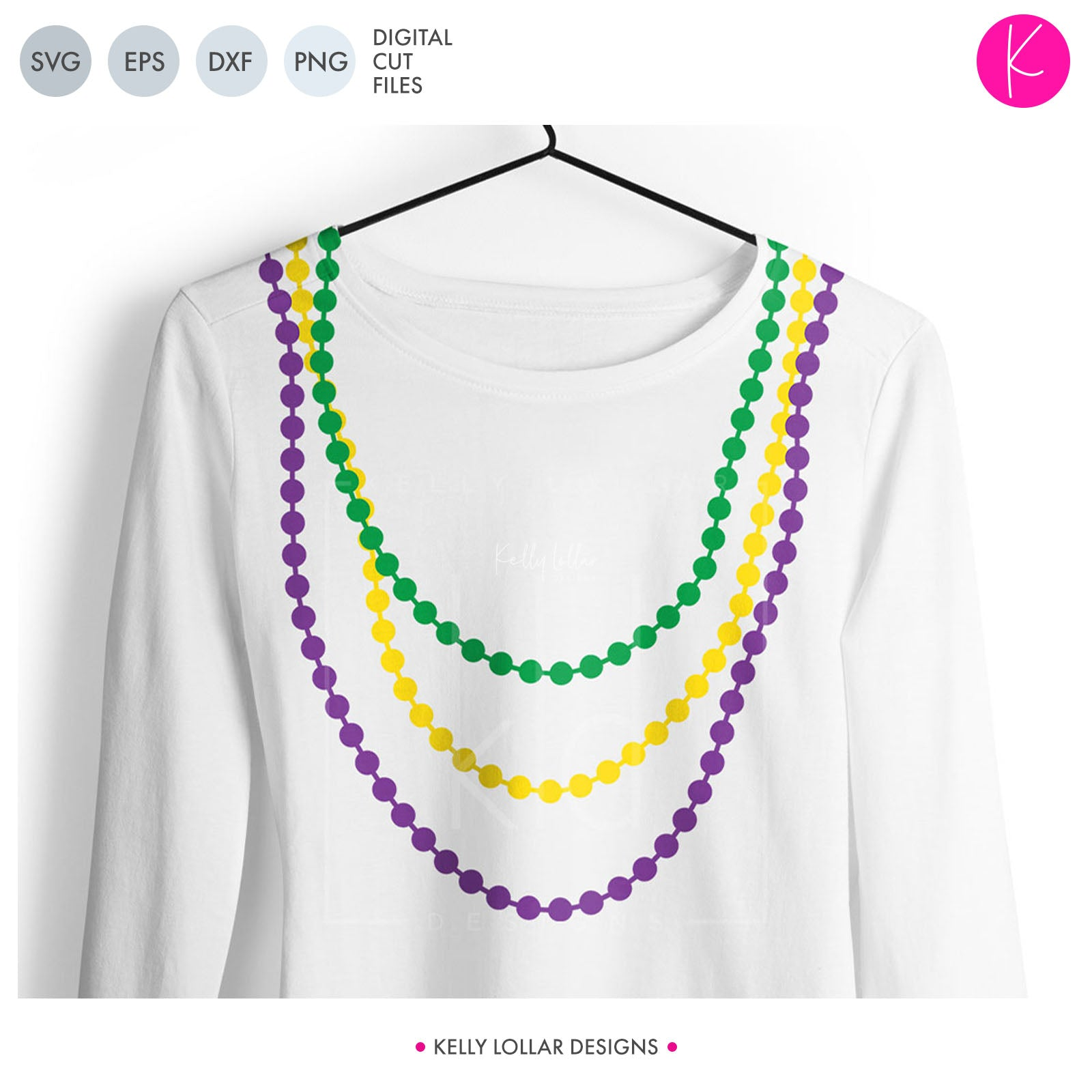 Mardi Gras Beads Pack | SVG DXF EPS PNG Cut Files Five Styles of Beads Each in 3 Lengths (30 total) for Mardi Gras Shirts, Decals and Decor | SVG DXF PNG Cut Files 10 files for each format 5 styles