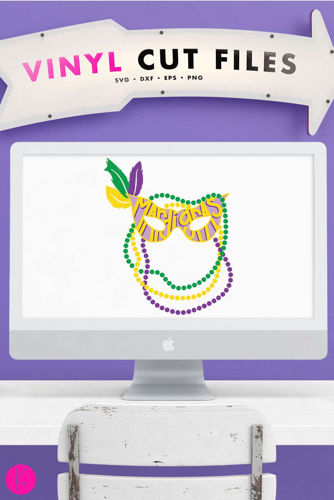 Mardi Gras Mask and Beads | SVG DXF EPS PNG Cut Files Hand Lettered Mardi Gras Mask with Feathers and Draped Beads for Shirts and Home Decor | SVG DXF PNG Cut Files 2 files for each format layered version with reusable