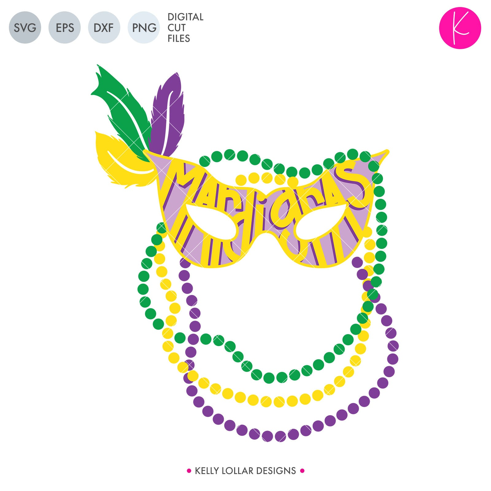 Mardi Gras Mask and Beads | SVG DXF EPS PNG Cut Files