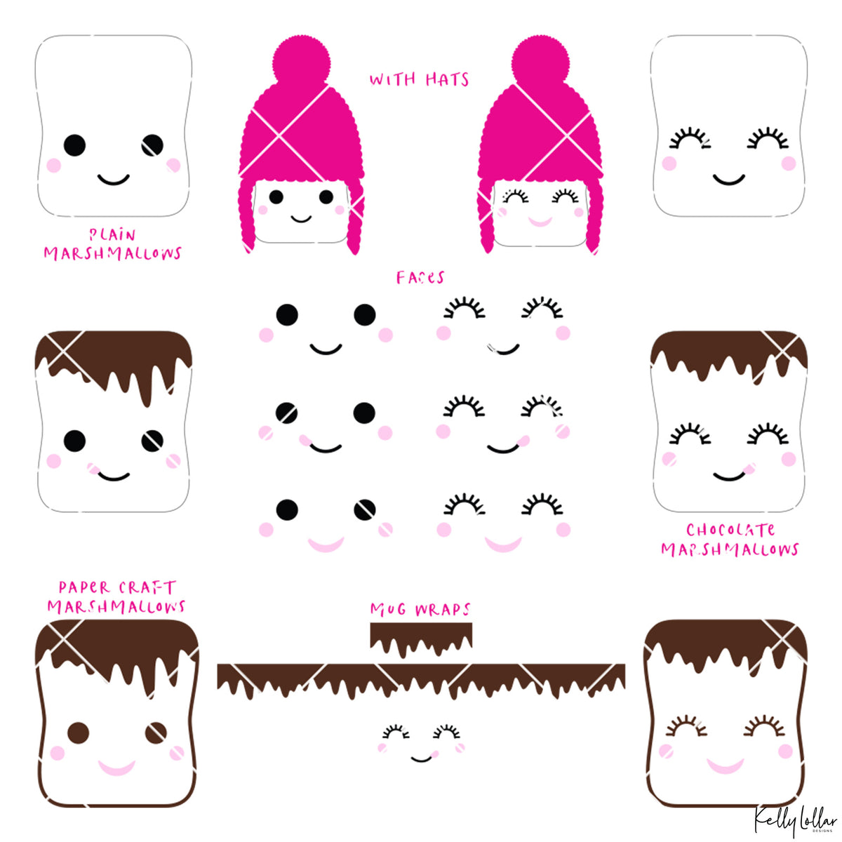 Marshmallow Faces Pack | SVG DXF EPS PNG Cut Files