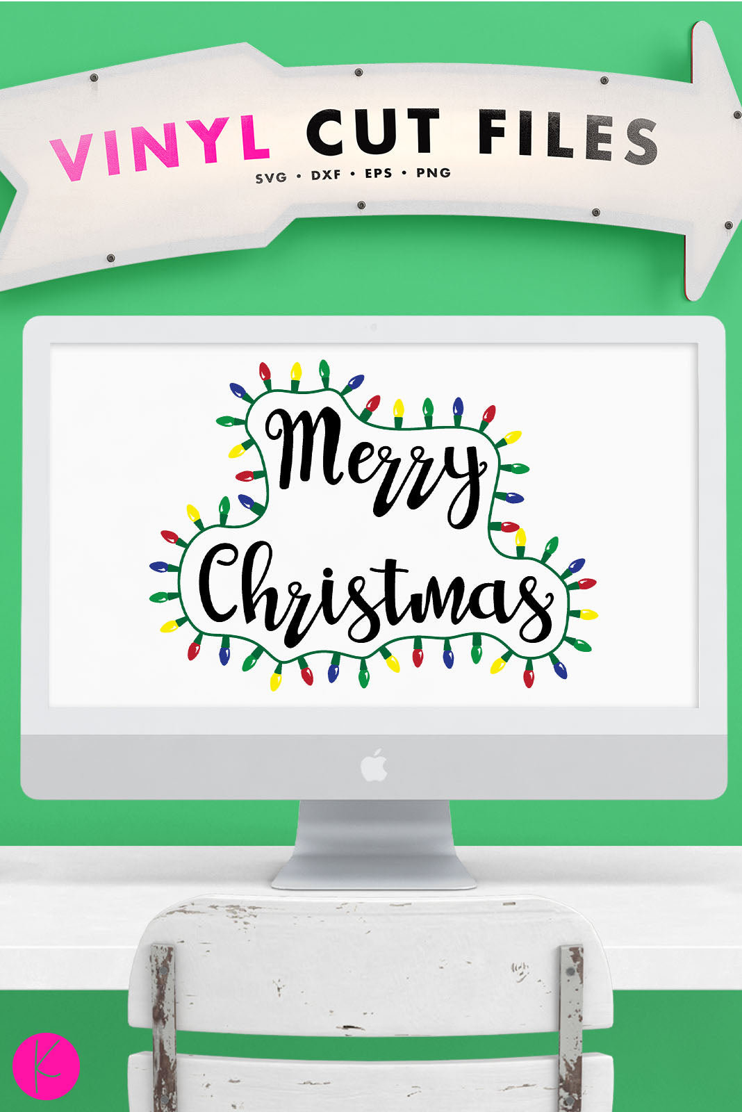 Merry Christmas with Lights | SVG DXF EPS PNG Cut Files