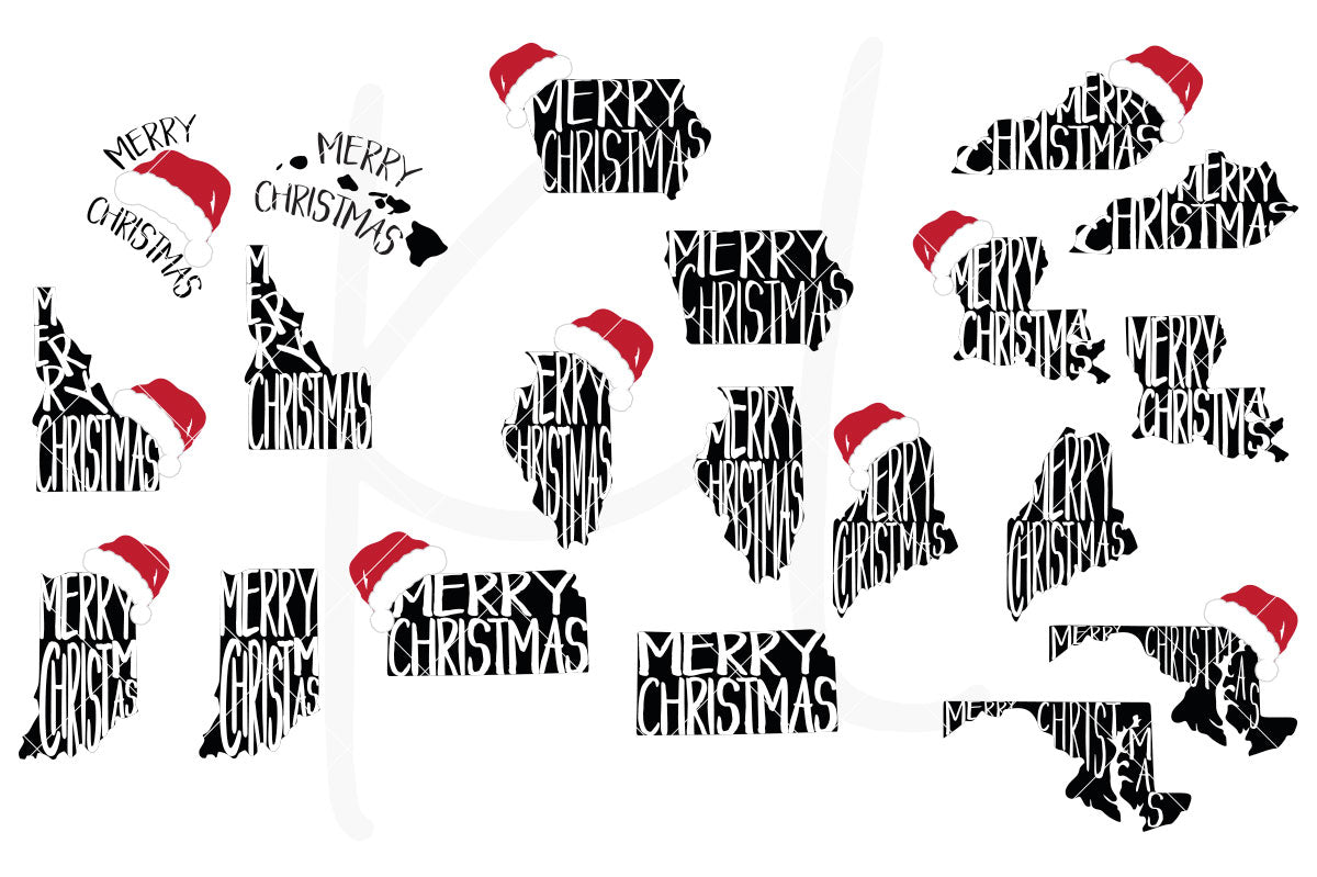 United States Merry Christmas  SVG Cut File Bundle All 50 States with Merry Christmas and Optional Santa Hat for Shirts, Home Decor or Print for Unique Christmas Cards | SVG DXF PNG Cut Files 199 files for each format