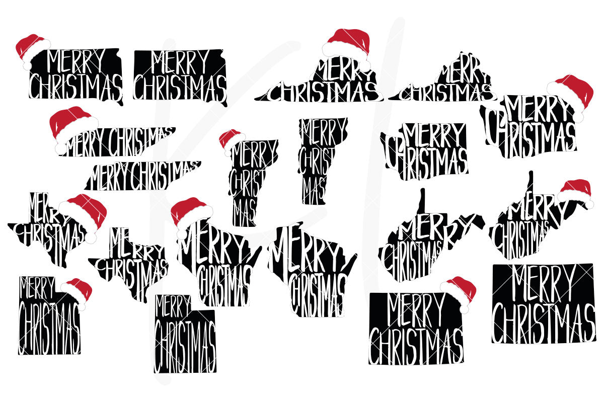All 50 States with Merry Christmas and Optional Santa Hat for Shirts, Home Decor or Print for Unique Christmas Cards | SVG DXF PNG Cut Files