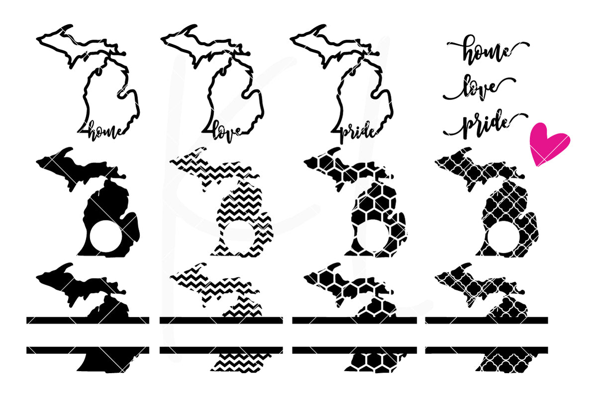 Michigan State Bundle | SVG DXF EPS PNG Cut Files