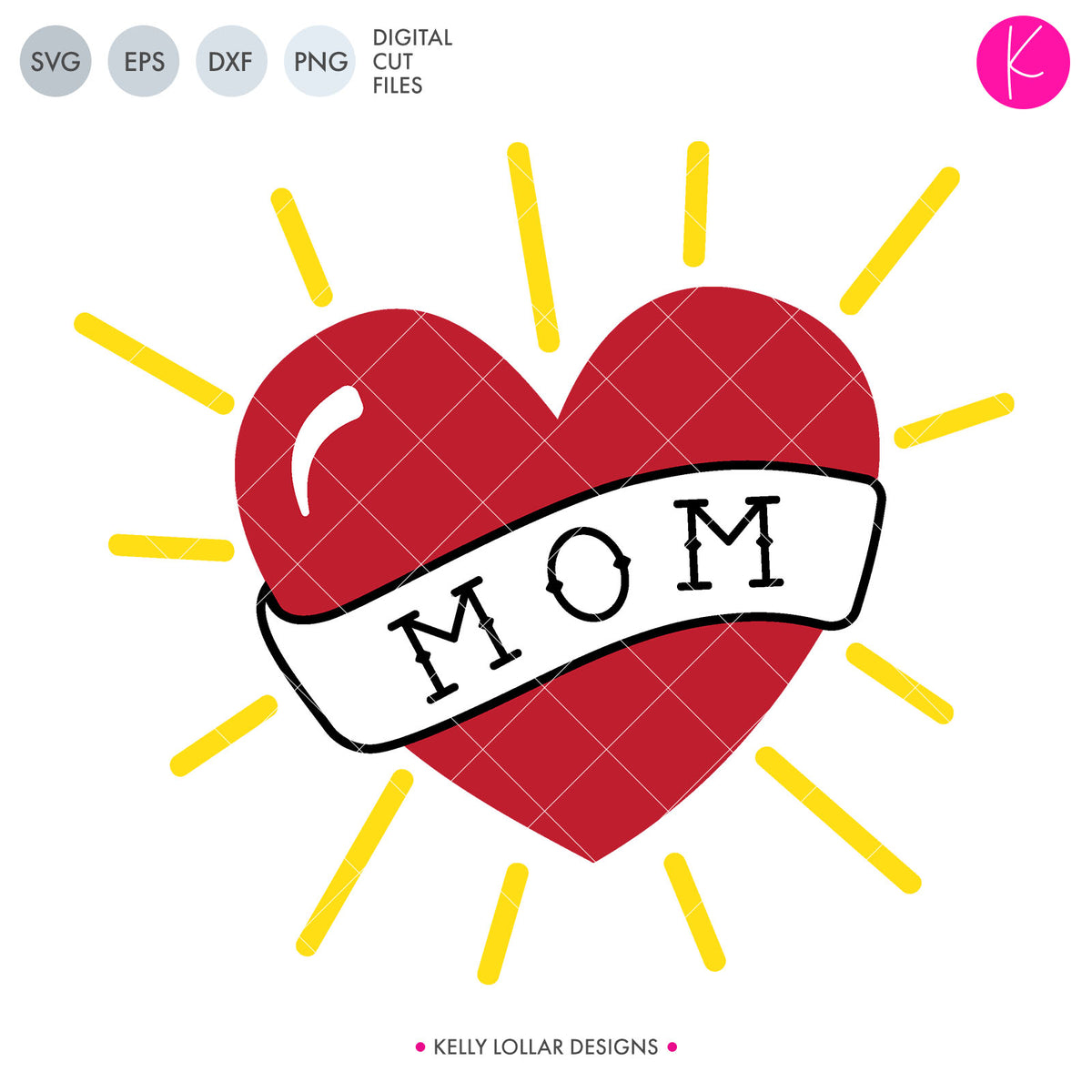 Mom Heart Tattoo | SVG DXF EPS PNG Cut Files