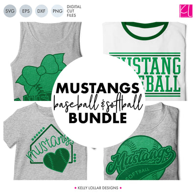 Mustangs Baseball & Softball Bundle | SVG DXF EPS PNG Cut Files