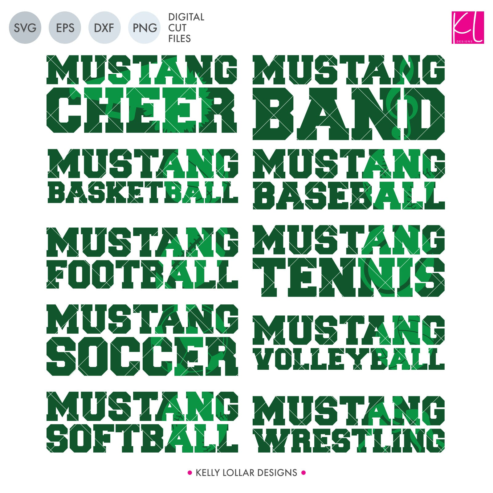 Mustang Sports Pack | SVG DXF EPS PNG Cut Files This handy Mustangs crafter pack is a great addition to your design cache. You're covered for the entire school year with ten different spirit shirt designs - Band, Baseball, Basketball, Cheer,