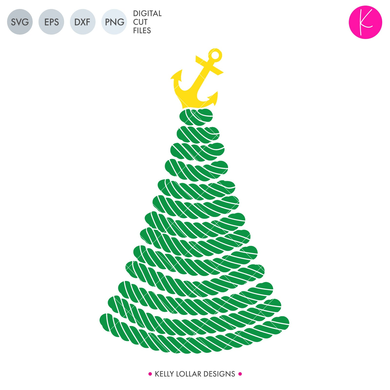 Nautical Christmas Tree | SVG DXF EPS PNG Cut Files Rope Christmas Tree Topped with an Anchor for Nautical Themed Christmas Decor and Designs | SVG DXF PNG Cut Files 1 file for each format welded as 2 pieces anchor