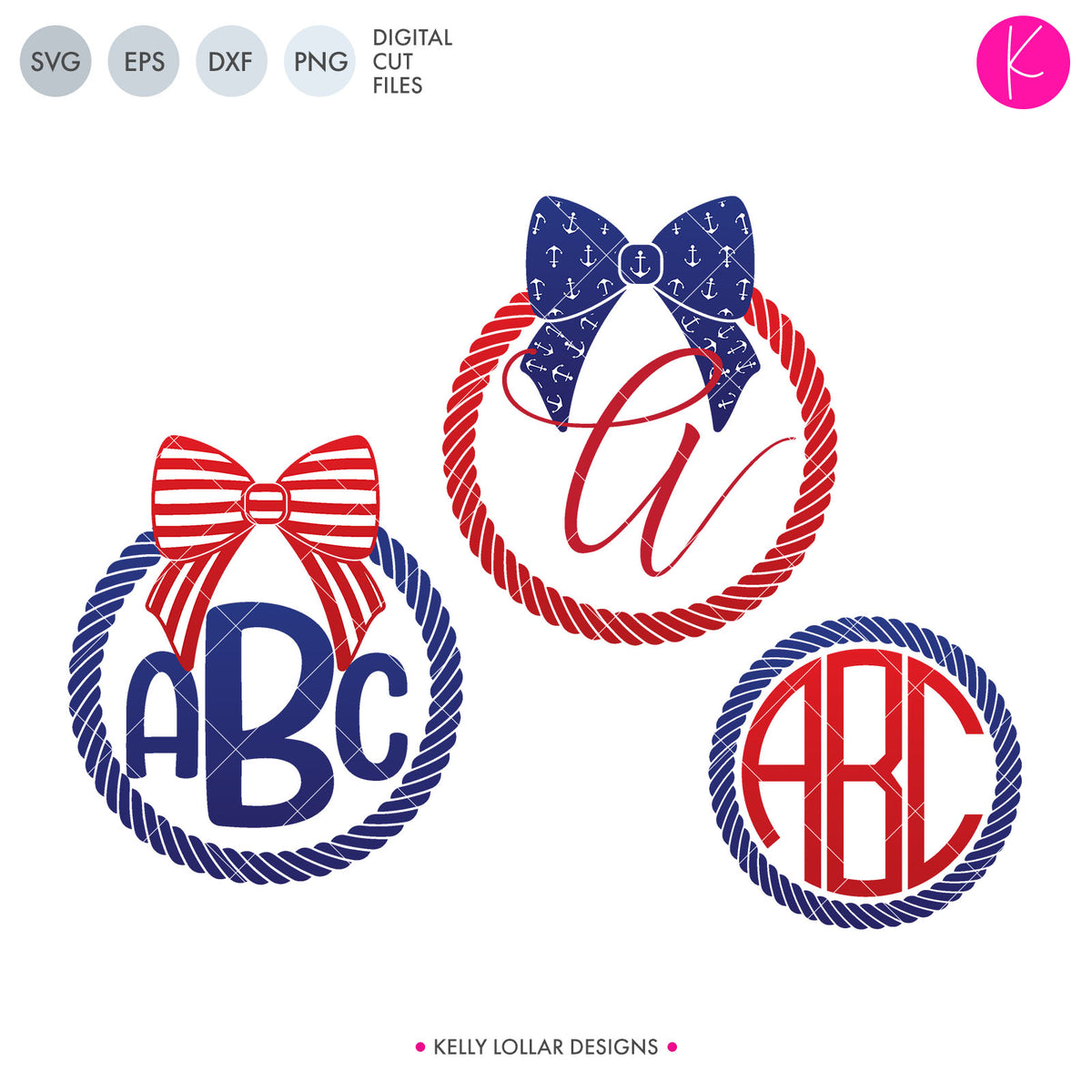 Nautical Bow Monogram Pack | SVG DXF EPS PNG Cut Files