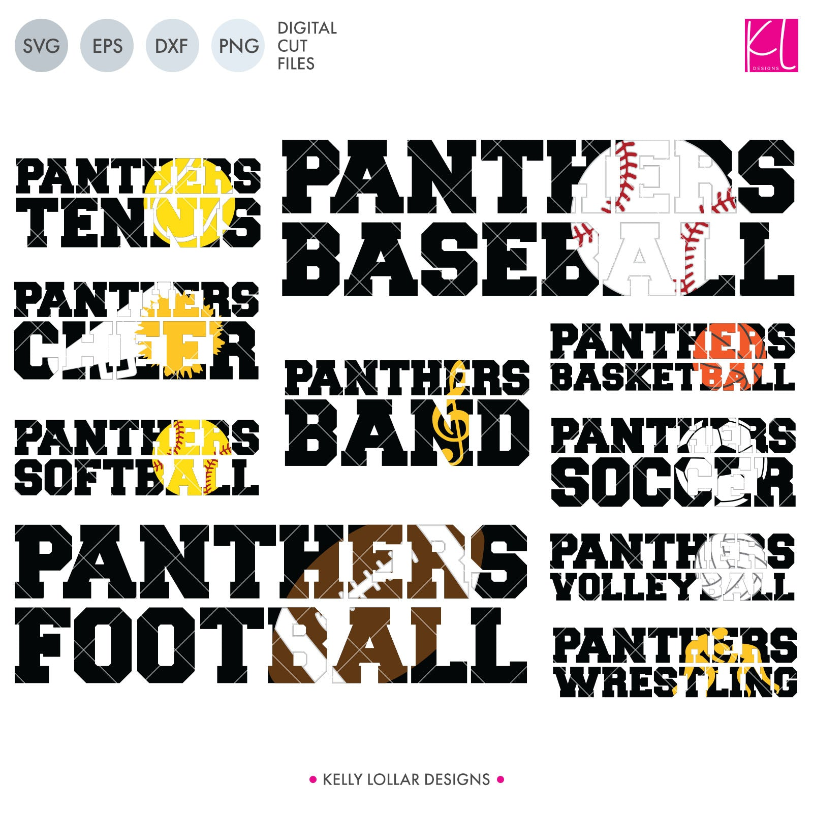 Panther Sports Pack | SVG DXF EPS PNG Cut Files This handy Panthers crafter pack is a great addition to your design cache. You're covered for the entire school yulldog with ten different spirit shirt designs - Band, Baseball, Basketball,