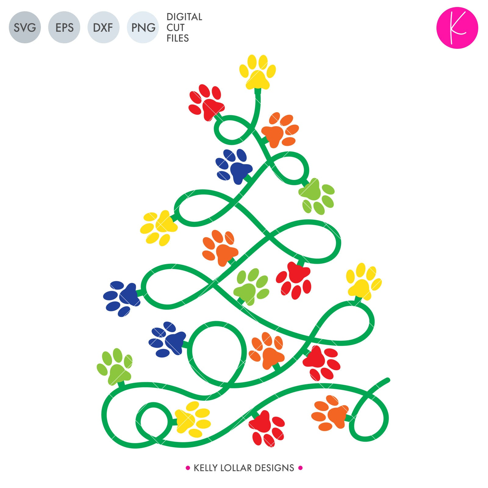 Paw Print Christmas Tree | SVG DXF EPS PNG Cut Files
