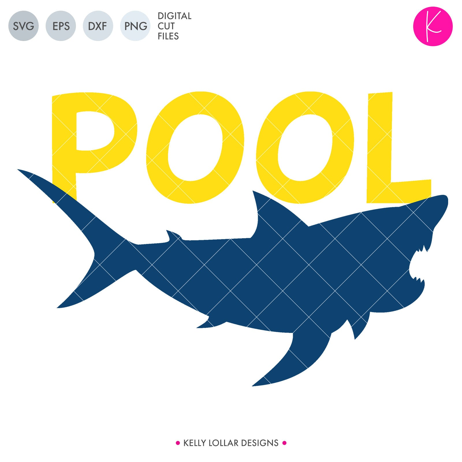 Puny Summer Pool Shark svg file with shark silhouette