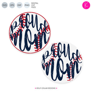 Script Proud Mom svg cut file with Baseball or Softball for the O in Proud