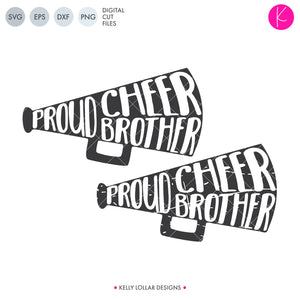 Proud Cheer Brother SVG File Pack with plain and distressed megaphones