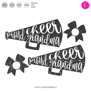 Proud Cheer Grandma SVG File Pack with plain and distressed megaphones plus matching bow monogram frames