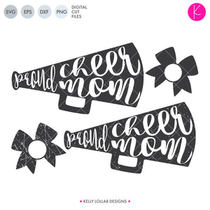 Proud Cheer Mom SVG File Pack with plain and distressed megaphones plus matching bow monogram frames