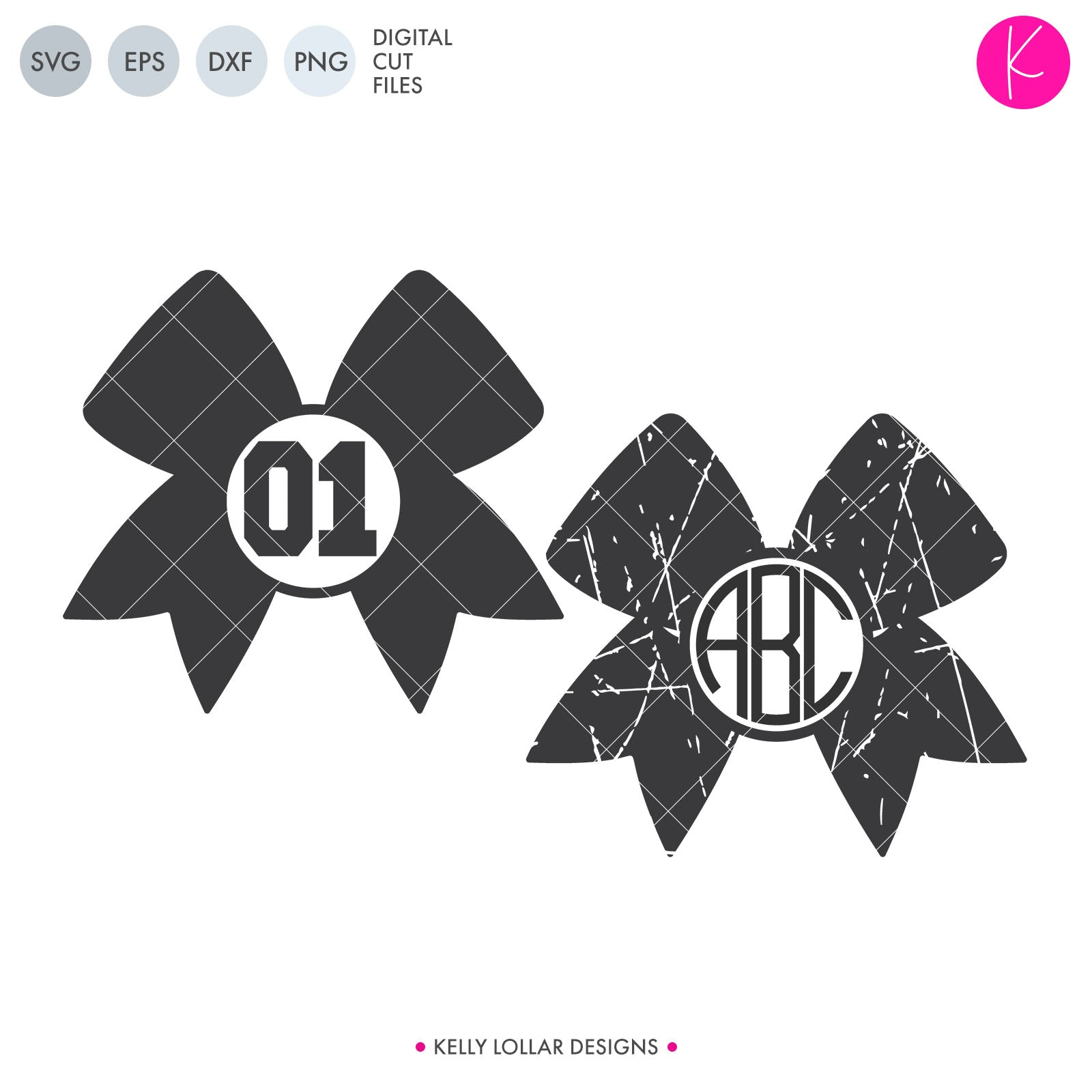 Cheer Bow Monogram | SVG DXF EPS PNG Cut Files