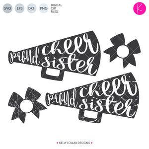 Proud Cheer Sister SVG File Pack with plain and distressed megaphones plus matching bow monogram frames