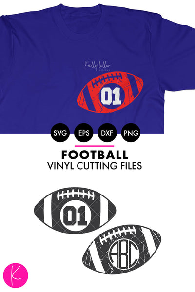 Football Monogram Frames | SVG DXF EPS PNG Cut Files