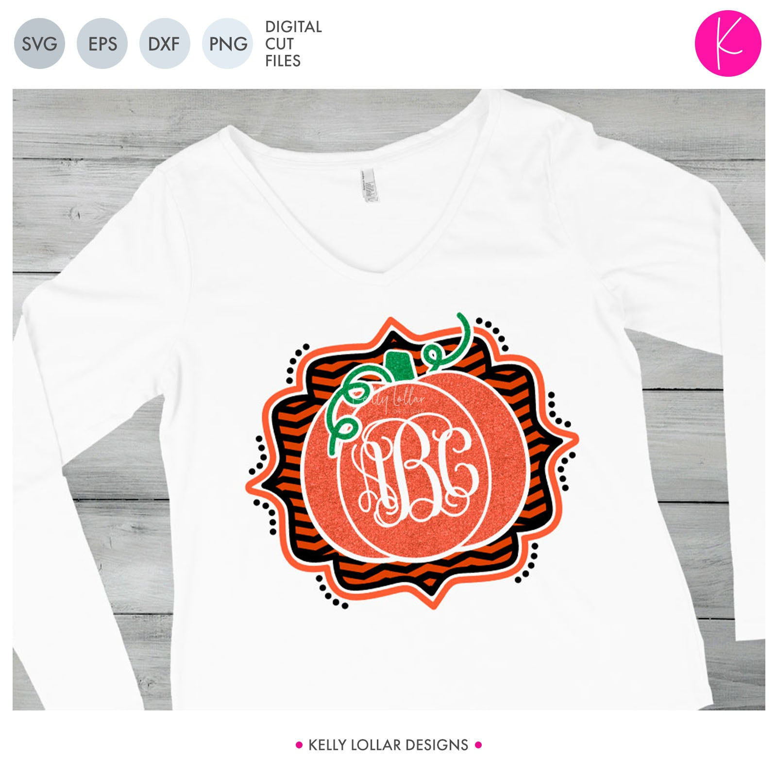 Pumpkin Monogram | SVG DXF EPS PNG Cut Files