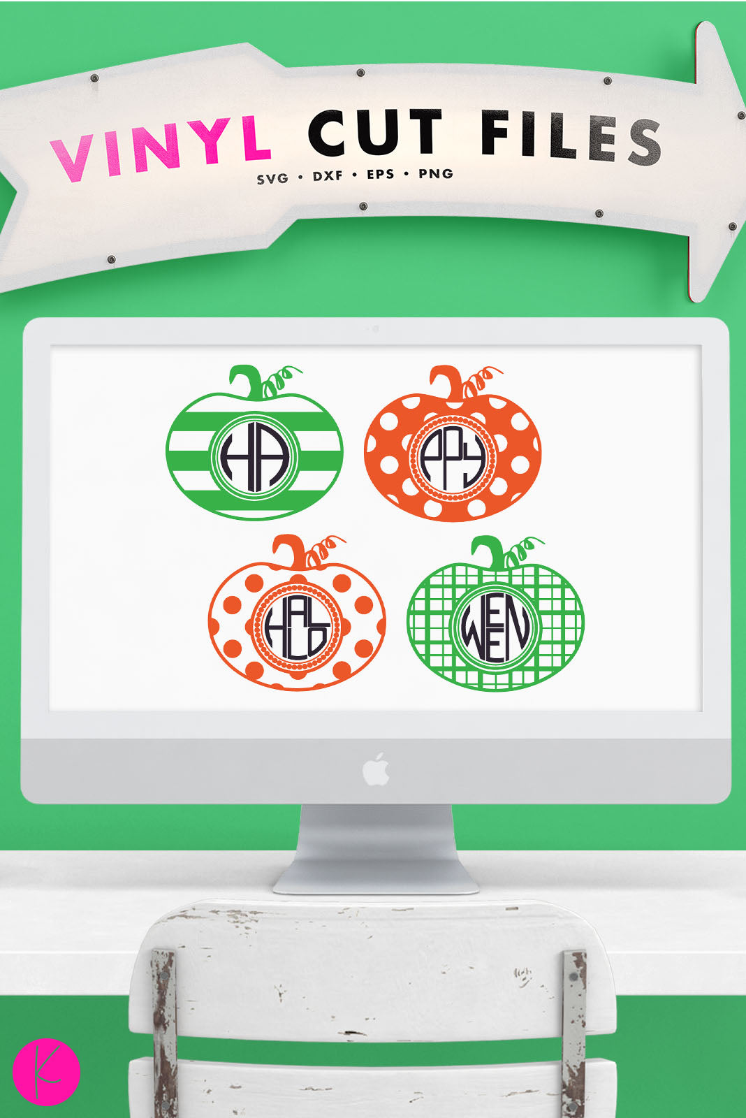 Pumpkin Monogram Pack | SVG DXF EPS PNG Cut Files