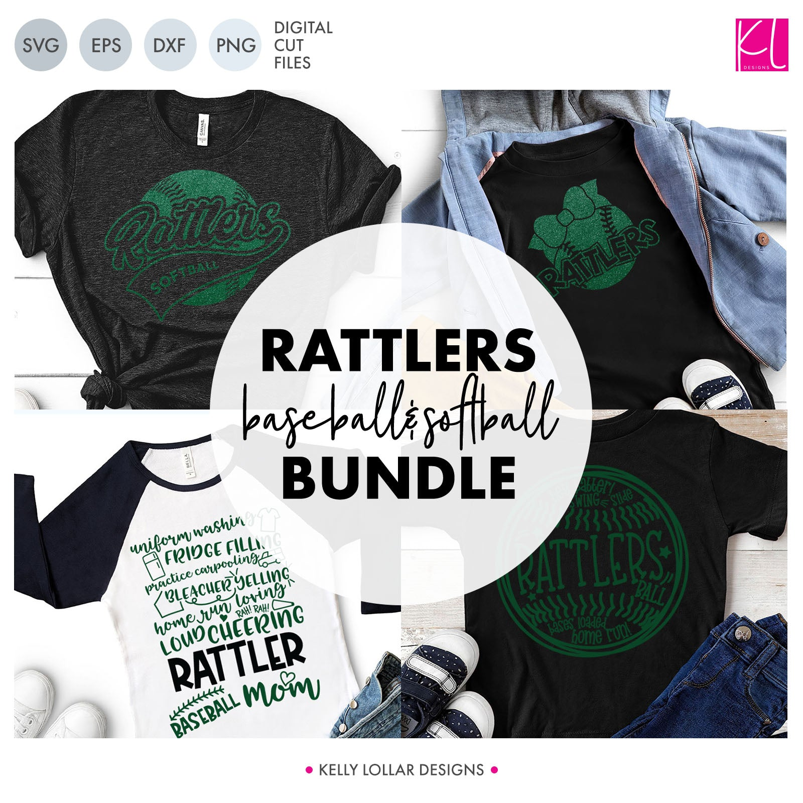 Rattlers Baseball & Softball Bundle | SVG DXF EPS PNG Cut Files It's baseball and softball season, so Rattler crafter know what that means ... new spirit shirts! This fifteen-piece bundle includes a little something for everyone - from girly and cute to