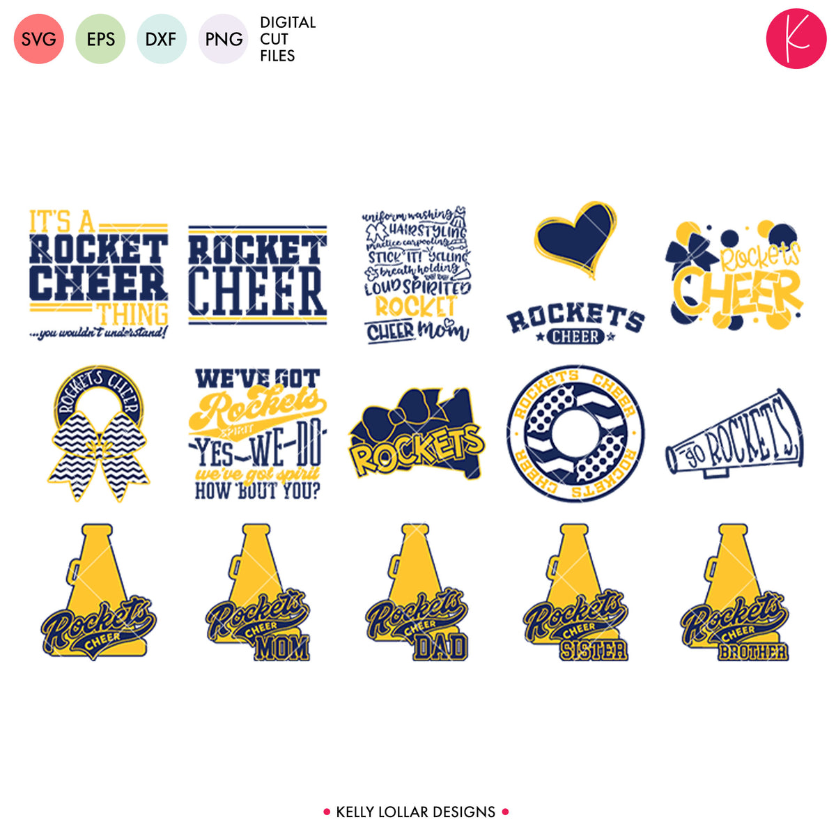 Rockets Cheer Bundle | SVG DXF EPS PNG Cut Files