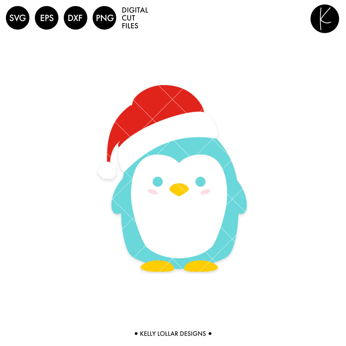 Penguin with Santa Hat | SVG DXF EPS PNG Cut Files