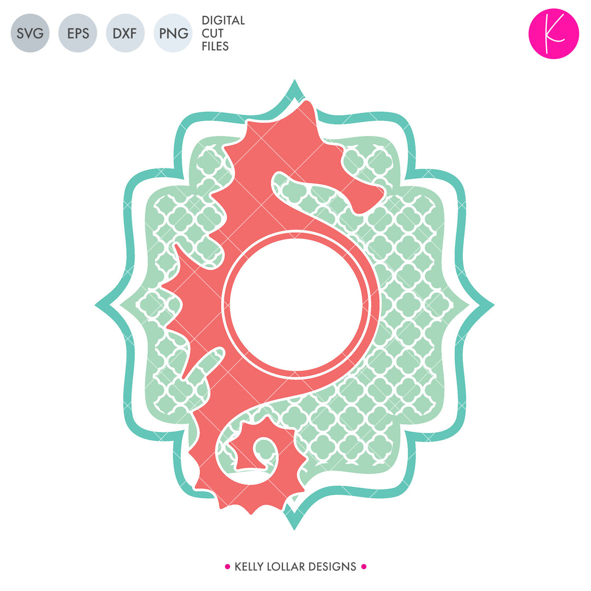 Seahorse Monogram | SVG DXF EPS PNG Cut Files