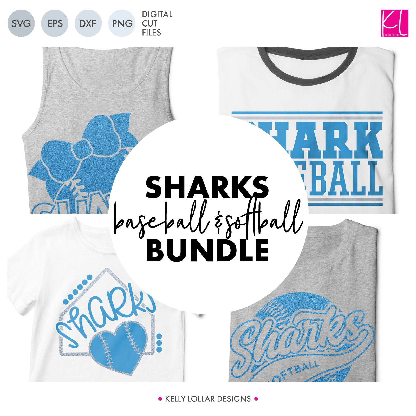 Sharks Baseball & Softball Bundle | SVG DXF EPS PNG Cut Files It's baseball and softball season, so Shark crafter know what that means ... new spirit shirts! This fifteen-piece bundle includes a little something for everyone - from girly and cute
